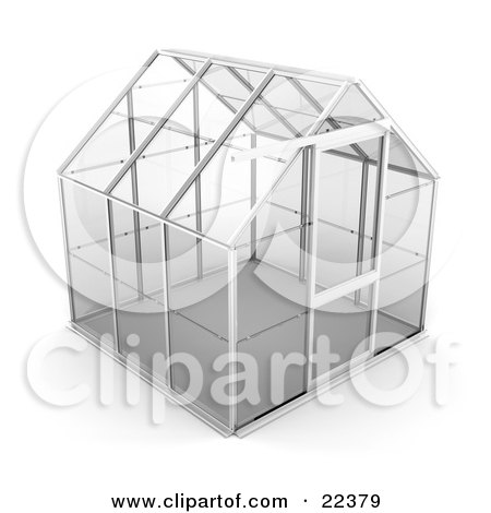 Clipart Illustration of an Empty Glass Greenhouse With A Silver Frame by KJ Pargeter