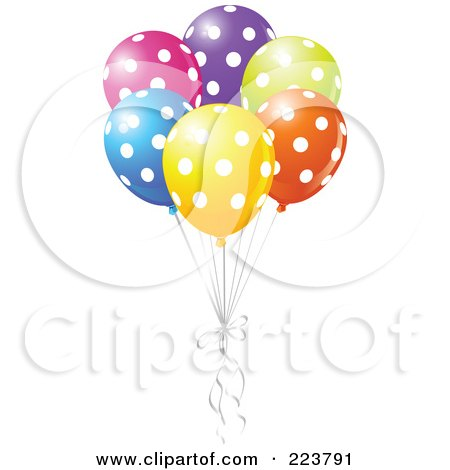 Royalty-Free (RF) Clipart Illustration of a Group Of Colorful Polka Dot Balloons by Pushkin