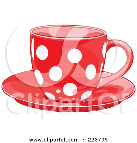 Royalty-Free (RF) Clipart Illustration of a Red Polka Dot Tea Or Coffee Cup On A Saucer by Pushkin