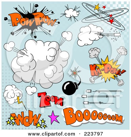 Royalty-Free (RF) Clipart Illustration of a Digital Collage Of Comic Clouds And Words - 2 by Pushkin