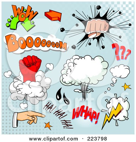 Royalty-Free (RF) Clipart Illustration of a Digital Collage Of Comic Clouds And Words - 4 by Pushkin
