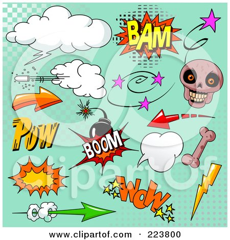 Royalty-Free (RF) Clipart Illustration of a Digital Collage Of Comic Clouds And Words - 3 by Pushkin