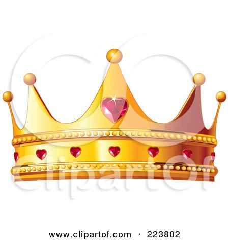 Royalty-Free (RF) Clipart Illustration of a Golden Queen Crown With Ruby Hearts by Pushkin