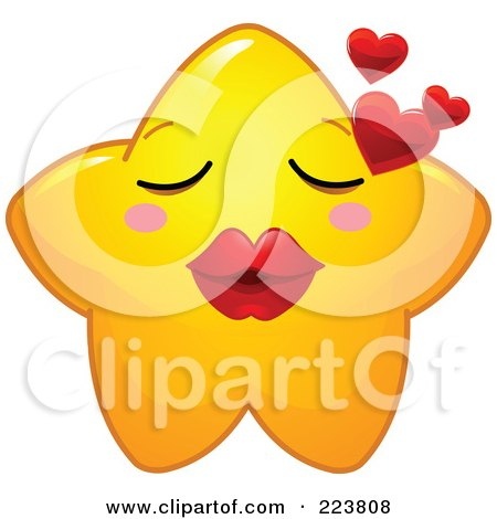 Royalty-Free (RF) Clipart Illustration of a Cute Yellow Star Character Blowing Hearts by Pushkin