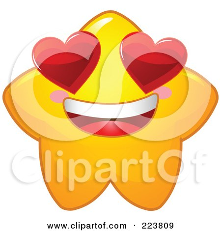 Royalty-Free (RF) Clipart Illustration of a Cute Yellow Star Character With Heart Eyes by Pushkin