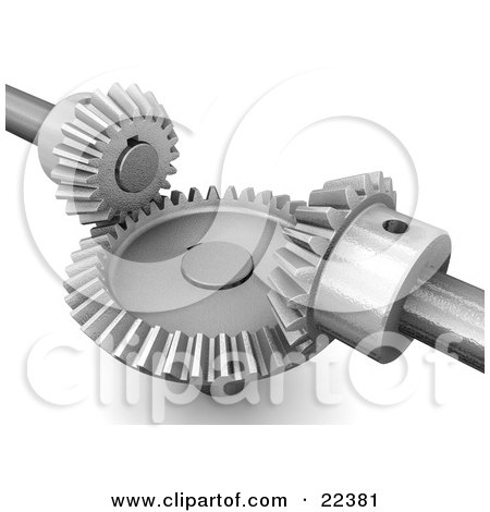 Clipart Illustration of a Large Riveted Circular Gear Moving With Two Smaller Gears Catching In The Rivets by KJ Pargeter