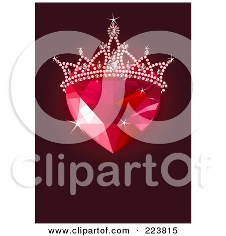 Royalty-Free (RF) Clipart Illustration of a Ruby Heart With A Tiara Over Dark Red by Pushkin