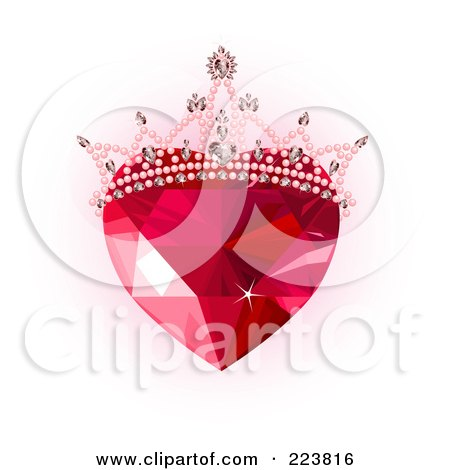 Royalty-Free (RF) Clipart Illustration of a Ruby Heart With A Tiara Over Pink And White by Pushkin