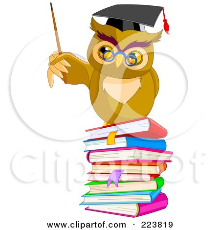 Royalty-Free (RF) Clipart Illustration of a Teacher Owl Holding A Pointer Stick On A Stack Of Books by Pushkin