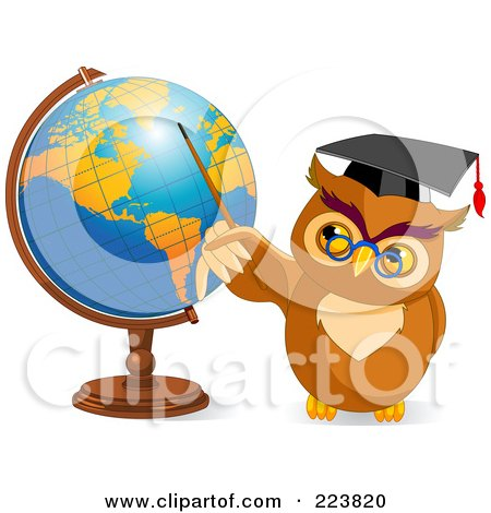 Royalty-Free (RF) Clipart Illustration of a Teacher Owl Holding A Pointer Stick To A Globe by Pushkin