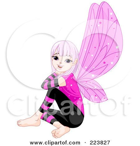 Royalty-Free (RF) Clipart Illustration of a Female Fairy With Purple Hair And Wings, Sitting And Smiling by Pushkin