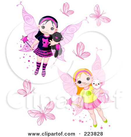 Royalty-Free (RF) Clipart Illustration of a Digital Collage Of Butterflies And Cute Fairies by Pushkin