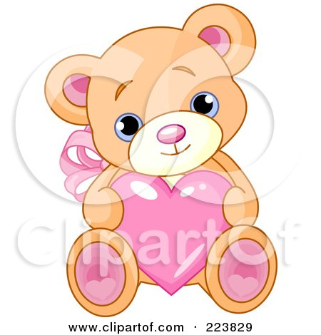 Royalty-Free (RF) Clipart Illustration of a Cute Teddy Bear With Pink Ears And Feet, Holding A Love Heart by Pushkin