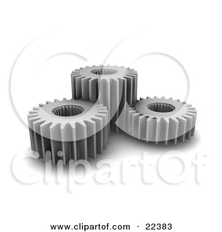 Clipart Illustration of a Group Of Three Spinning Chrome Gear Cogs by KJ Pargeter