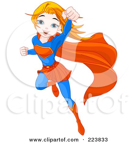 Royalty-Free (RF) Clipart Illustration of a Flying Super Girl To The Rescue by Pushkin
