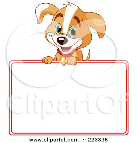 Royalty-Free (RF) Clipart Illustration of a Cute Beagle Puppy Over A Blank Sign Bordered In Red by Pushkin