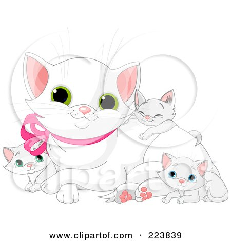 Royalty-Free (RF) Clipart Illustration of a White Mommy Cat With Her Kittens by Pushkin