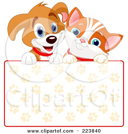 Royalty-Free (RF) Clipart Illustration of a Cute Puppy And Orange Kitten Smiling Over A Paw Print Sign by Pushkin