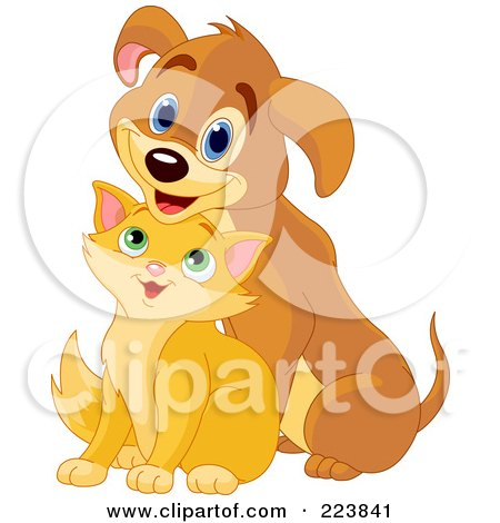 Royalty-Free (RF) Clipart Illustration of a Cute Marmalade Kitten Sitting In Front Of A Puppy by Pushkin