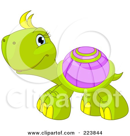 Cute Green Turtle With Yellow Hair And A Purple Shell Posters Art