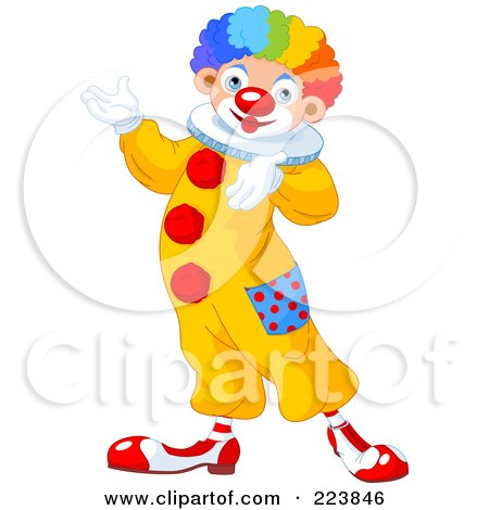 Royalty-Free (RF) Clipart Illustration of a Cute Clown Gesturing And Presenting by Pushkin