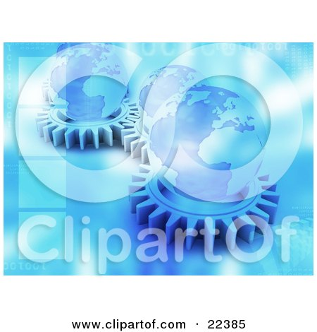 Group Of Flat Blue Cog Gears Spinning With Globes On Top Of Them With Blue Binary Coding Posters, Art Prints