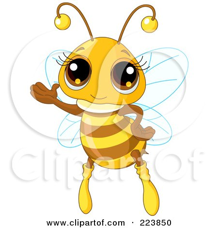 Royalty-Free (RF) Clipart Illustration of an Adorable Honey Bee Waving by Pushkin
