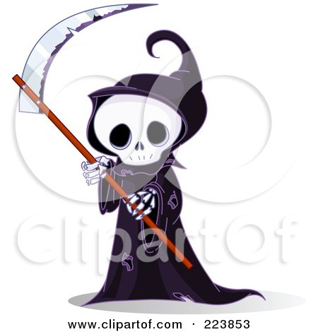 Royalty-Free (RF) Clipart Illustration of a Cute Grim Reaper Holding A Scythe by Pushkin