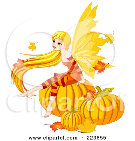 Royalty-Free (RF) Clipart Illustration of a Female Fairy With Long Hair, Sitting On Autumn Pumpkins by Pushkin