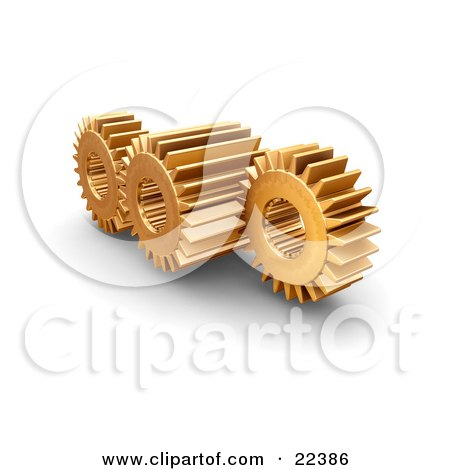 Clipart Illustration of Three Working Golden Gears With Deep Rivets by KJ Pargeter