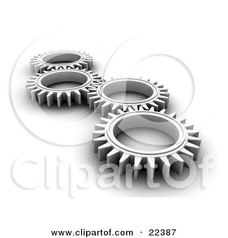 Clipart Illustration of Four Chrome Cogs Lying Down Flat, Spinning In Tandem by KJ Pargeter