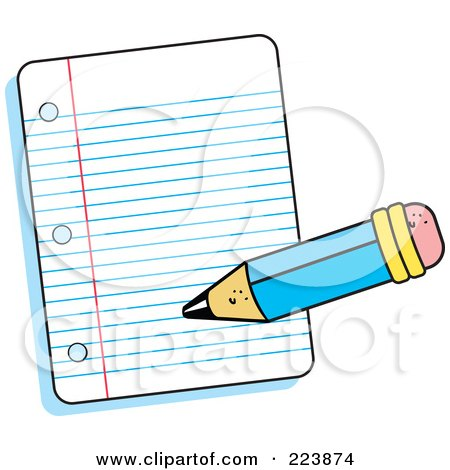 Royalty-Free (RF) Clipart Illustration of a Pencil Writing On A Piece Of Ruled Paper by Johnny Sajem