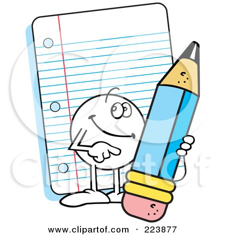 Royalty-Free (RF) Clipart Illustration of a Friendly Moodie Character Holding A Pencil By Note Paper by Johnny Sajem