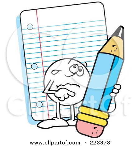 Royalty-Free (RF) Clipart Illustration of a Sad Moodie Character Holding A Pencil By Note Paper by Johnny Sajem