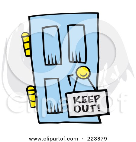 Royalty-Free (RF) Clipart Illustration of a Keep Out Sign On A Blue Door by Johnny Sajem
