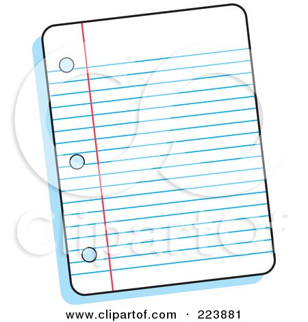 Royalty-Free (RF) Clipart Illustration of a Piece Of Ruled Paper by Johnny Sajem