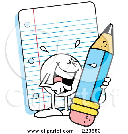 Royalty-Free (RF) Clipart Illustration of a Funny Moodie Character Holding A Pencil By Note Paper by Johnny Sajem