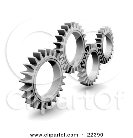 Clipart Illustration of Four Slender Silver Cogs Spinning And Catching In The Rivets by KJ Pargeter