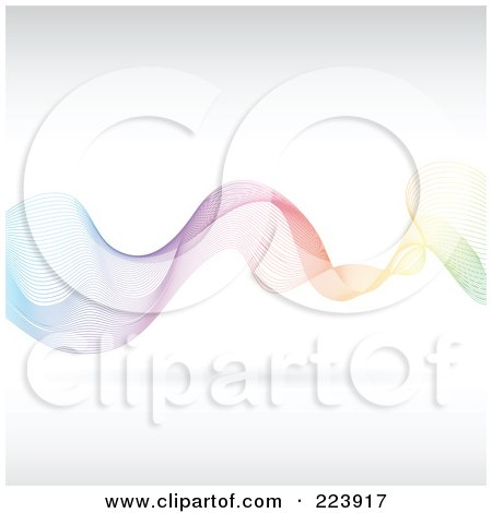 Royalty-Free (RF) Clipart Illustration of a Mesh Wave Of Colors On Off White - 1 by cidepix