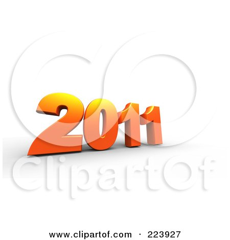 Royalty-Free (RF) Clipart Illustration of a 3d Orange 2011 On Shaded White by chrisroll