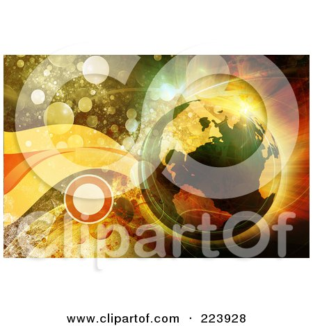 Royalty-Free (RF) Clipart Illustration of a Transparent Earth Over A Background Of Orbs And Waves by chrisroll