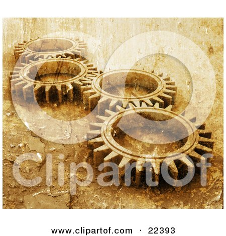 Clipart Illustration of Four Gold Cogs Lying Down Flat, Spinning In Tandem With A Grunge Peeling Paint Texture by KJ Pargeter