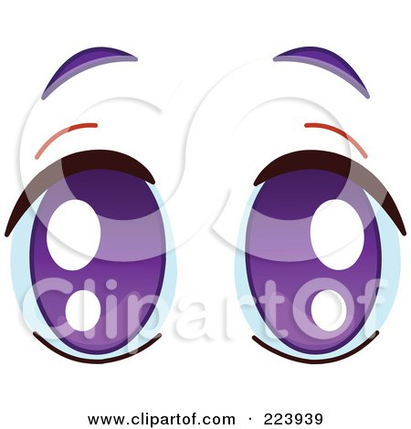 Royalty-Free (RF) Clipart Illustration of a Pair Of Pleading Purple Eyes by yayayoyo