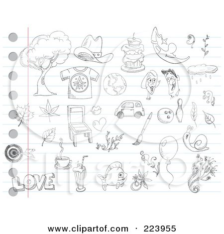 Royalty-Free (RF) Clipart Illustration of a Digital Collage Of Random Doodles On Ruled Paper - 1 by yayayoyo