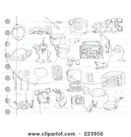 Royalty-Free (RF) Clipart Illustration of a Digital Collage Of Random Doodles On Ruled Paper - 2 by yayayoyo