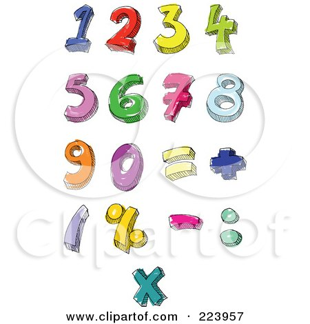 Royalty-Free (RF) Clipart Illustration of a Digital Collage Of Hand Written And Colored Numbers And Math Symbols by yayayoyo