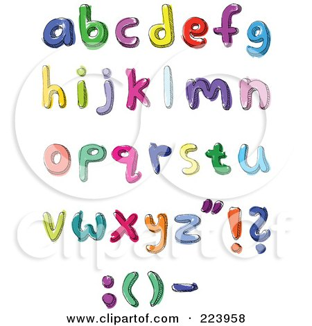 Royalty-Free (RF) Clipart Illustration of a Digital Collage Of Hand Written And Colored Lowercase Letters by yayayoyo