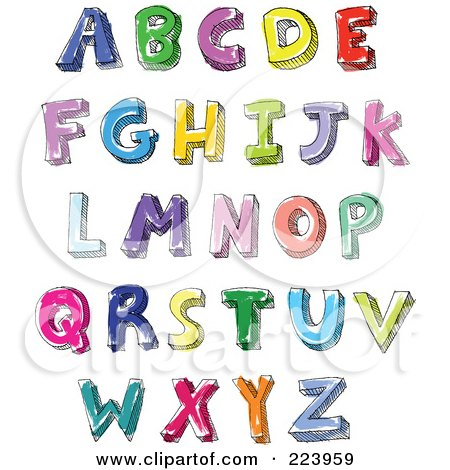 Royalty-Free (RF) Clipart Illustration of a Digital Collage Of Hand Written And Colored Capital Letters by yayayoyo
