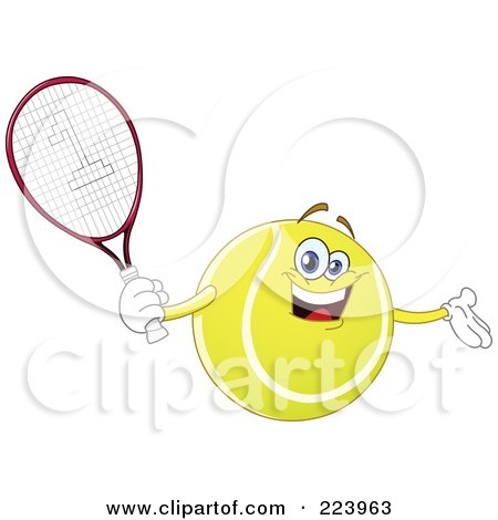 Royalty-Free (RF) Clipart Illustration of a Cheerful Tennis Ball Character Holding A Racket by yayayoyo