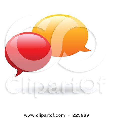 Royalty-Free (RF) Clipart Illustration of Rounded Red And Orange Chat Balloon Windows And Shadows by yayayoyo